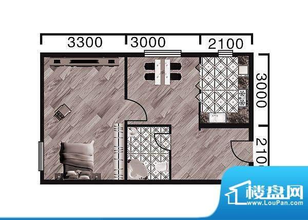 中天·紫金城A--a面面积:57.70平米