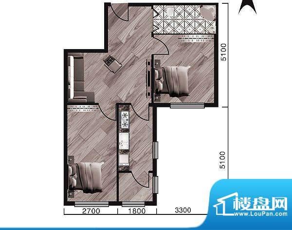 中天·紫金城H--a面面积:81.30平米