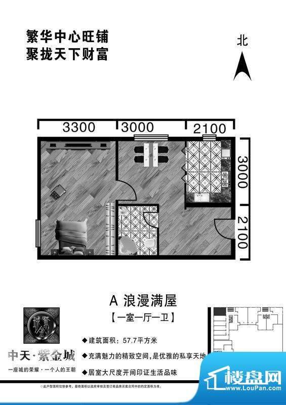 中天·紫金城A户型1面积:57.10平米