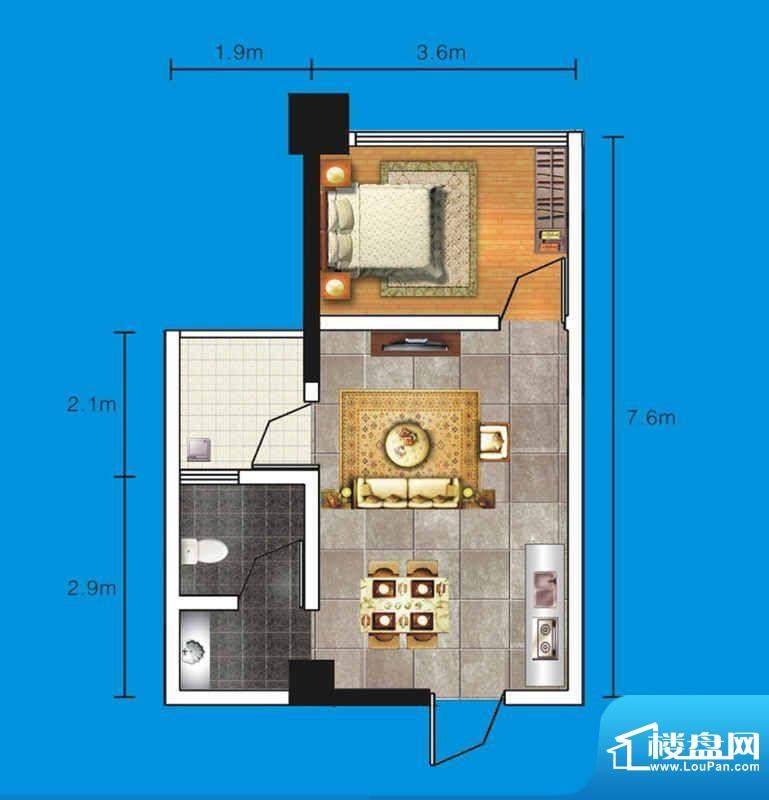 达人联盟户型图1 1室面积:42.57平米