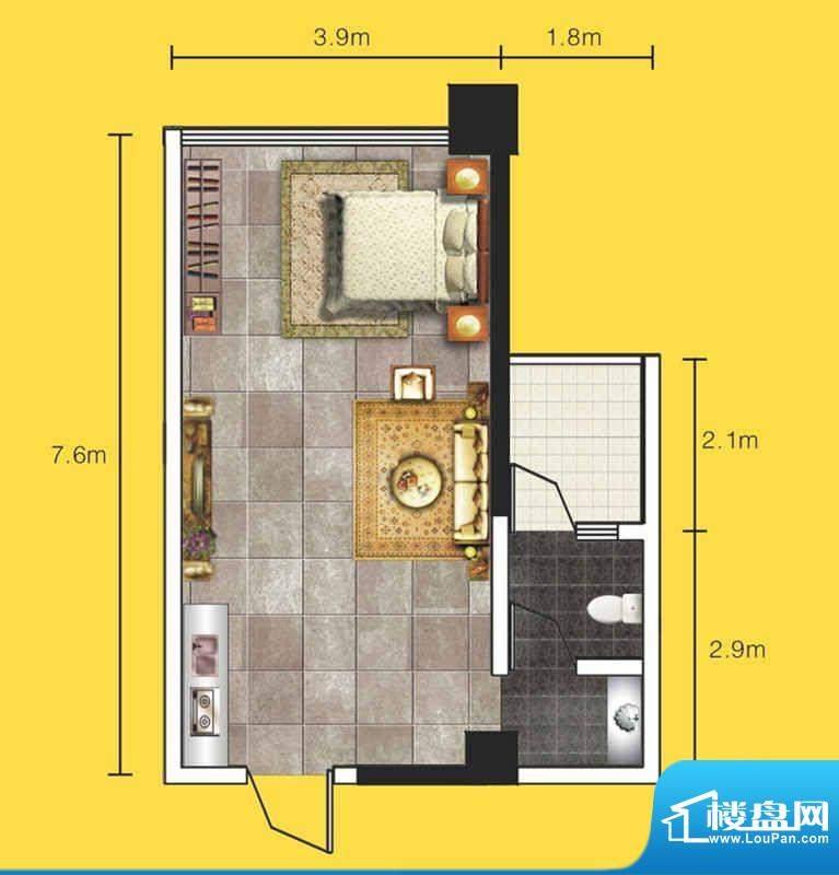 达人联盟户型图2 1室面积:42.57平米