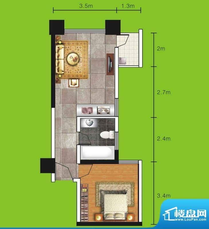 达人联盟户型图3 1室面积:46.76平米