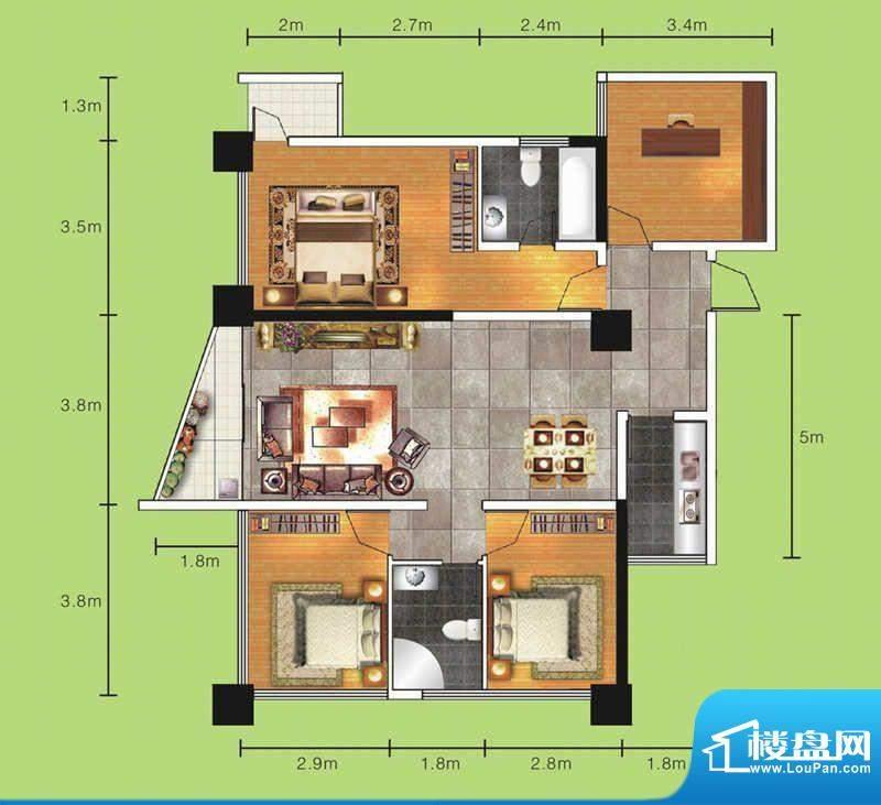 达人联盟户型图4 4室面积:129.74平米
