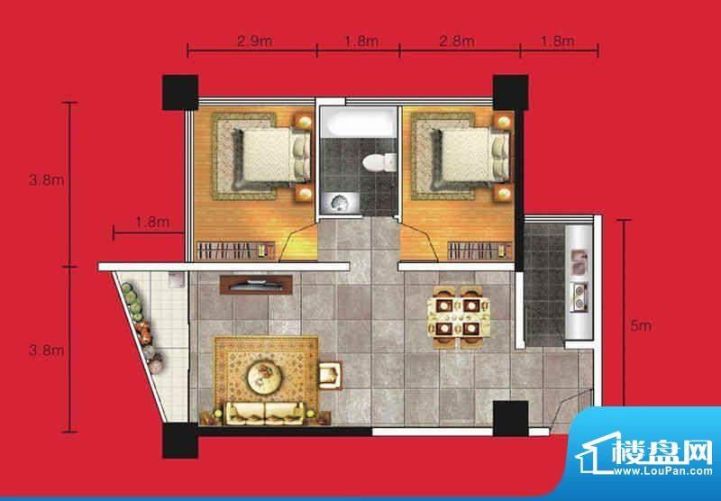达人联盟户型图5 2室面积:81.04平米