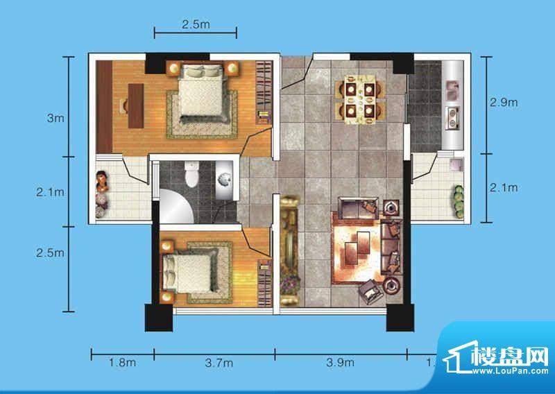 达人联盟户型图6 2室面积:85.14平米