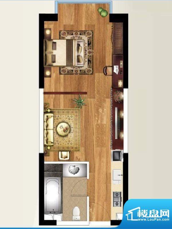 禧瑞都D2户型 1室1厅面积:50.17平米
