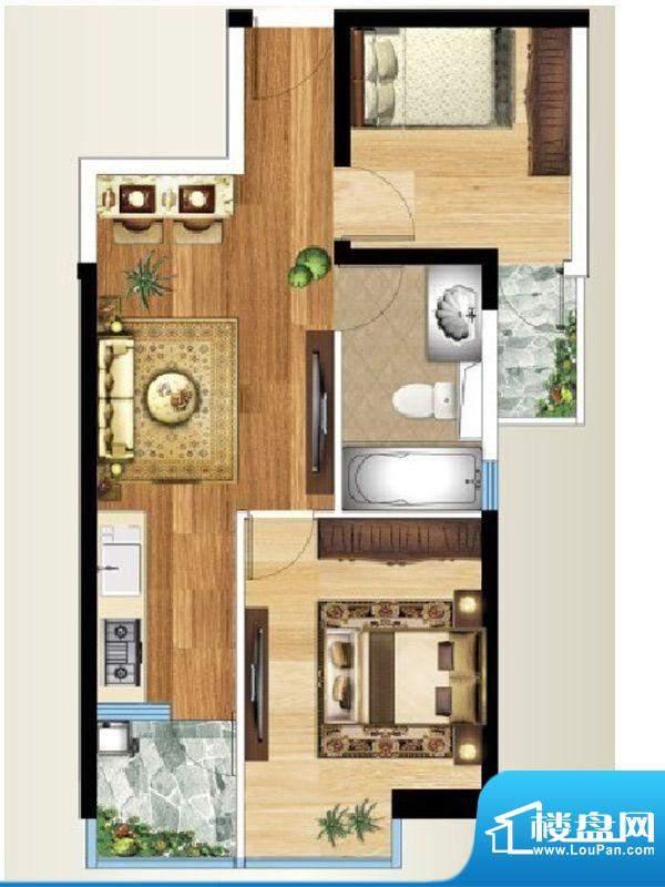 禧瑞都B/C-6户型 2室面积:64.32平米