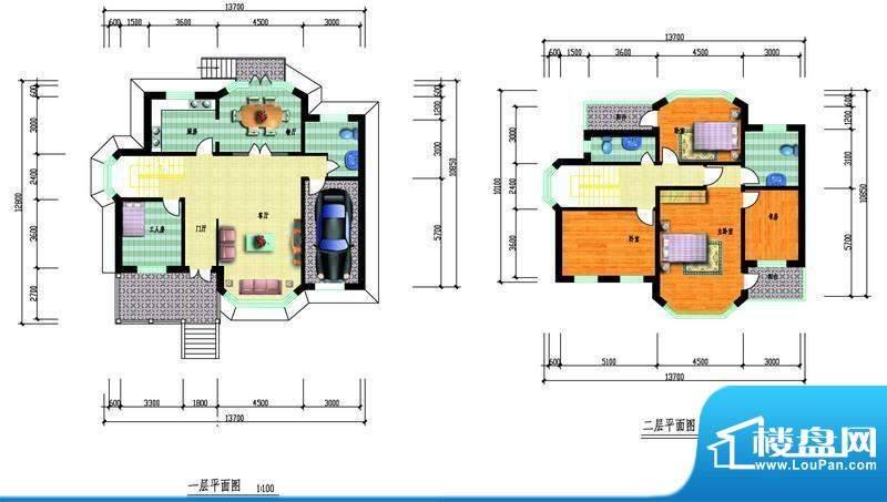 中瑞山水苑h户型图 面积:0.00m平米
