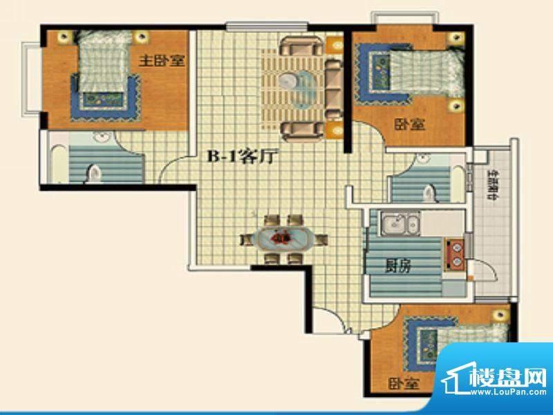 永乐金园B1户型 3室面积:101.00平米