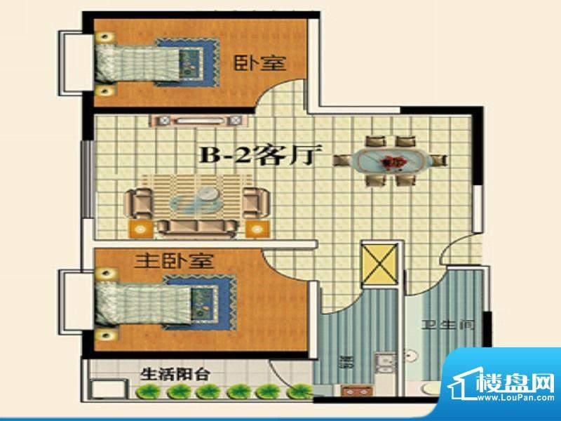 永乐金园B2户型 2室面积:65.00平米