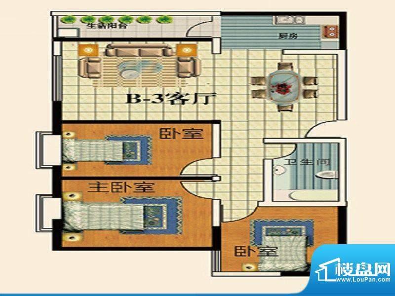 永乐金园B3户型 3室面积:82.00平米