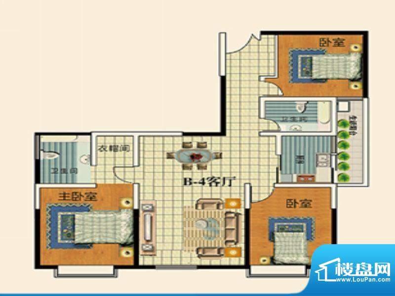 永乐金园B4户型 3室面积:110.00平米