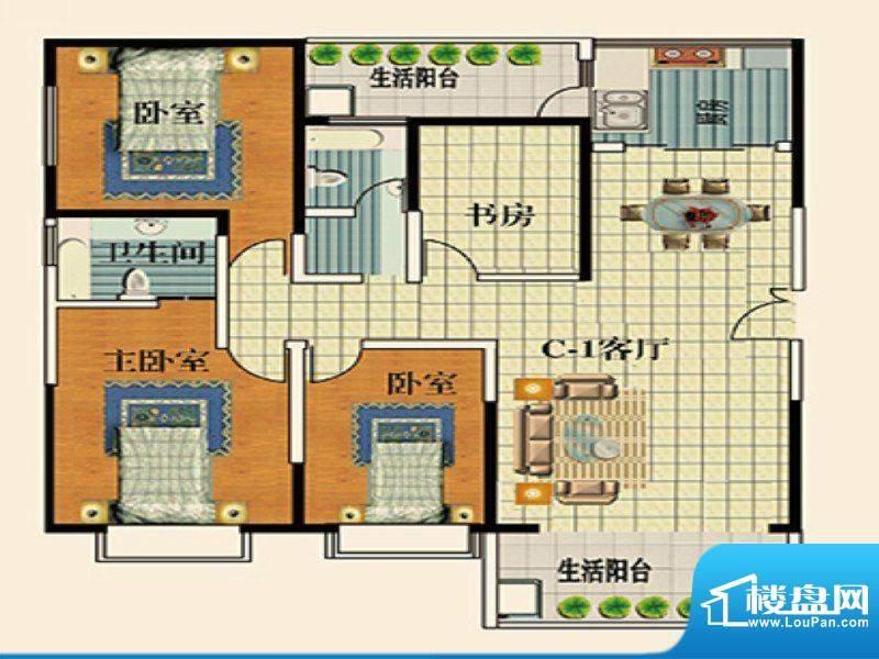 永乐金园C1户型 4室面积:137.00平米