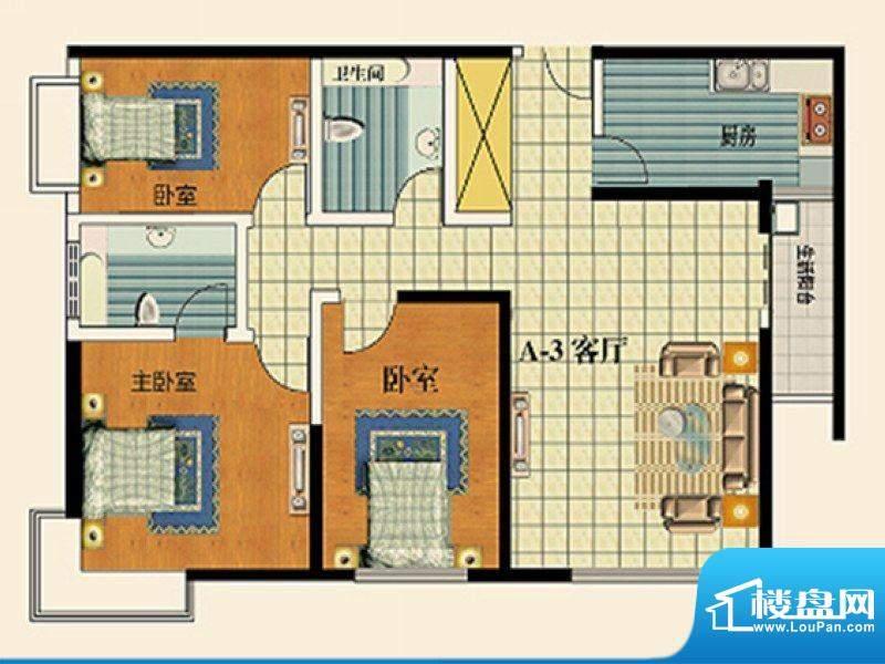 永乐金园A3户型 3室面积:97.00平米