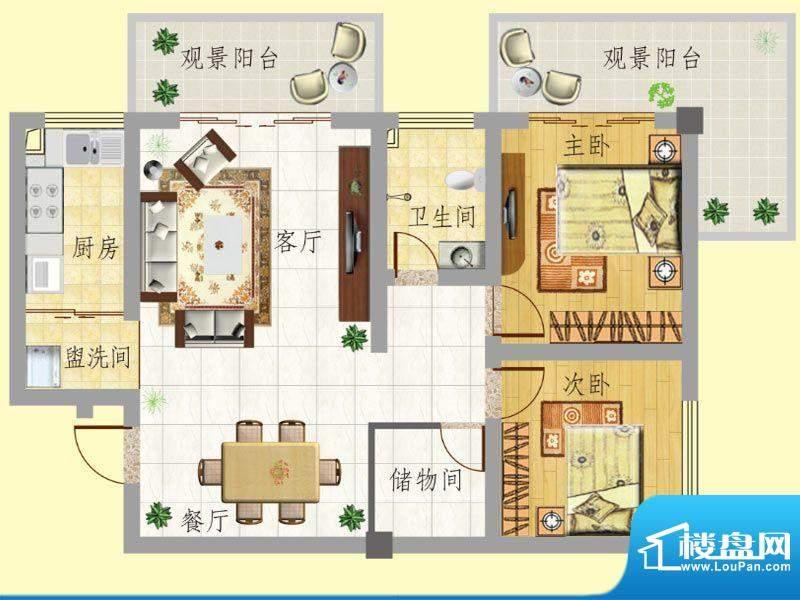 龙门新景B户型 2室2面积:86.11m平米