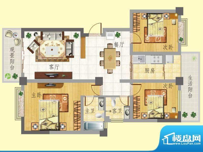 龙门新景C户型 2室2面积:120.86m平米