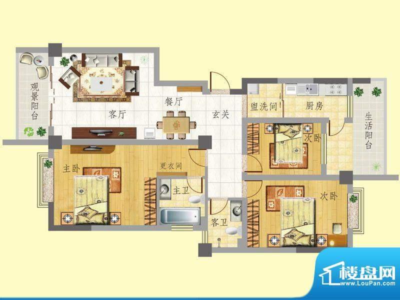 龙门新景E户型 3室2面积:126.06m平米