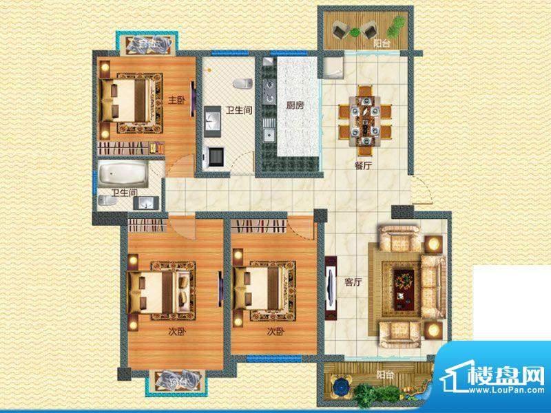 腊峰世家E户型图 3室面积:119.36m平米