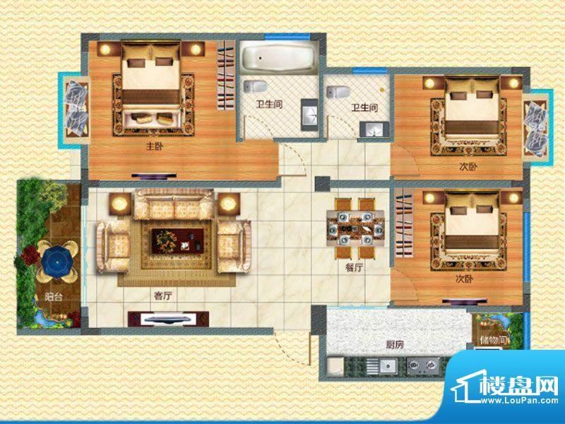 腊峰世家G户型图 3室面积:108.00m平米