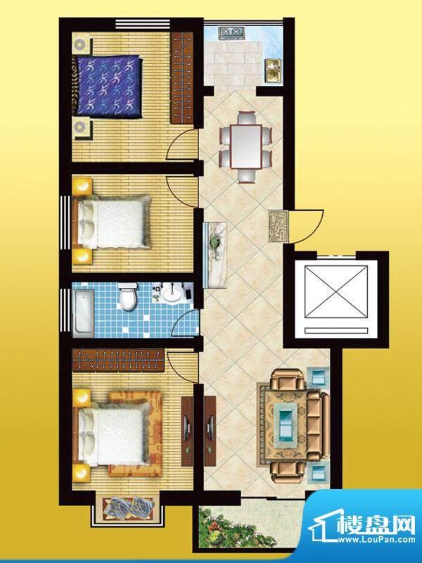 锦绣西双E户型 3室2面积:105.87m平米