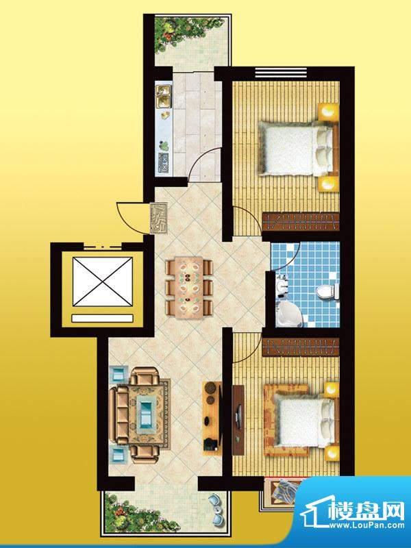 锦绣西双D户型 2室2面积:90.81m平米