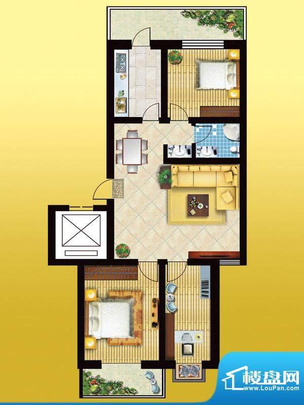 锦绣西双B户型 3室2面积:107.81m平米