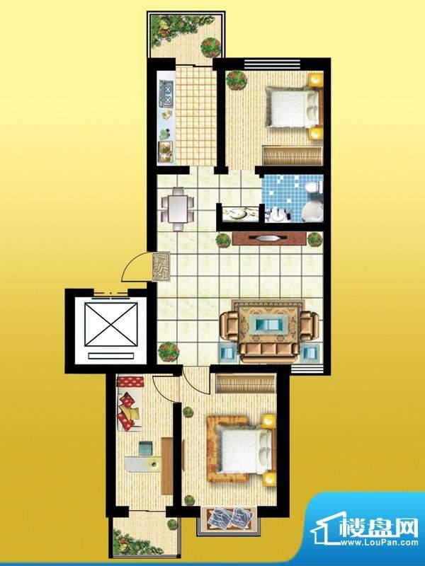 锦绣西双A户型 3室2面积:99.66m平米
