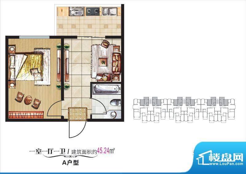 学院·翠湖风尚10#楼面积:45.24m平米