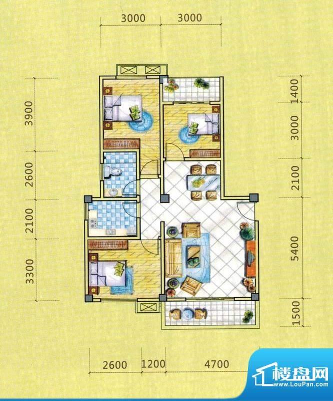 西湖人家C1户型图 3面积:94.67平米