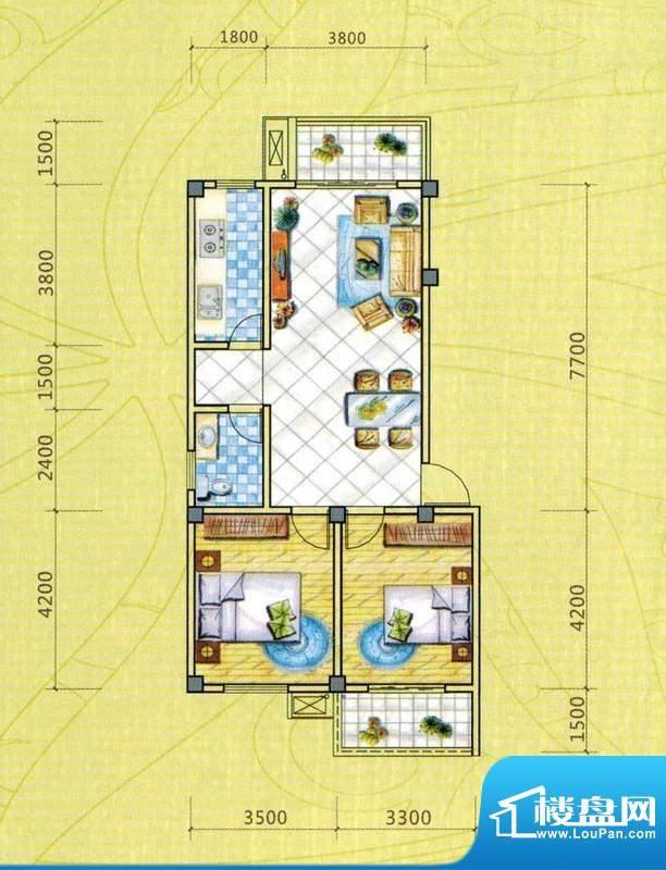 西湖人家A1户型图 2面积:85.95平米