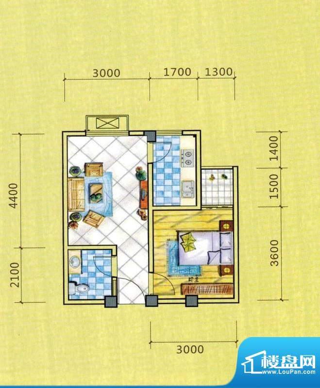 西湖人家D1户型图 1面积:39.72平米