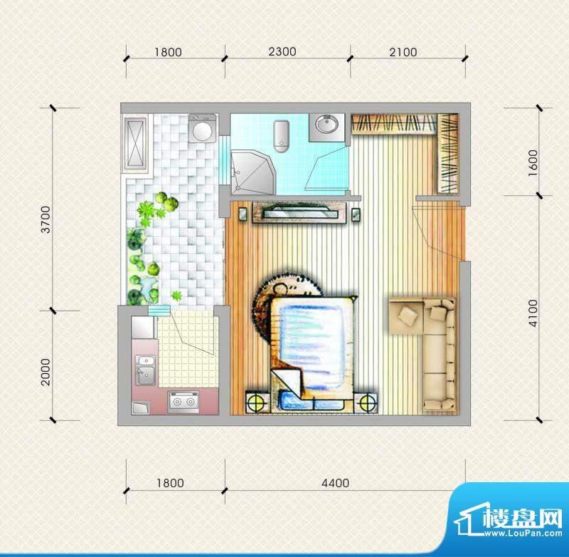 元友南城都汇B6户型面积:38.21平米