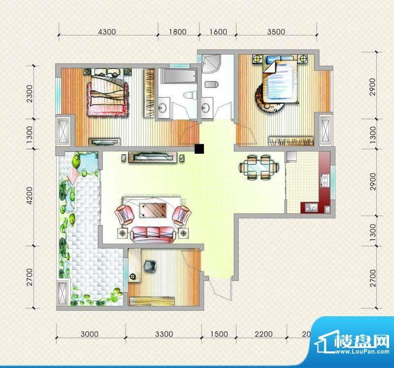 元友南城都汇B5户型面积:116.58平米