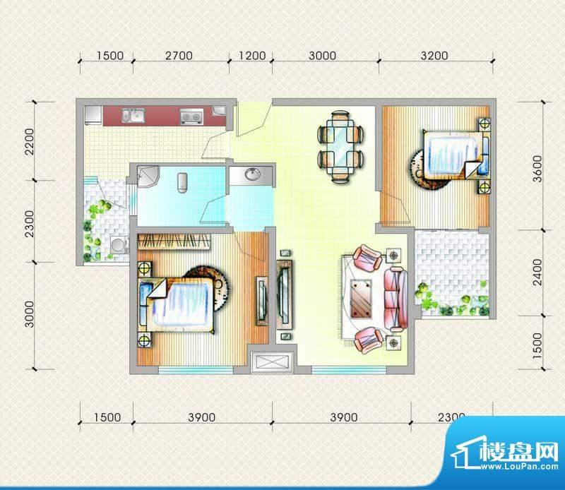 元友南城都汇C2户型面积:89.00平米
