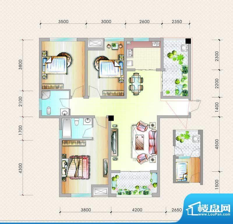 元友南城都汇C3户型面积:125.79平米