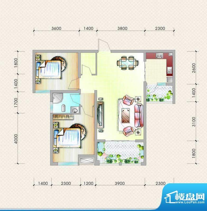 元友南城都汇B2户型面积:86.64平米