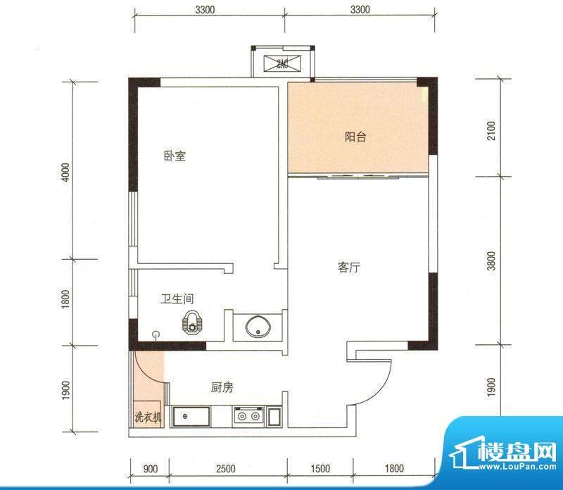 华伦·城市领地C户型面积:51.52平米