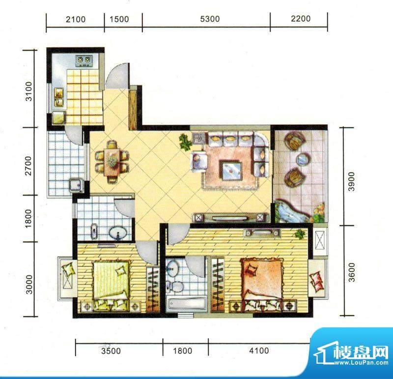 上东风景二期6-2户型面积:93.16平米