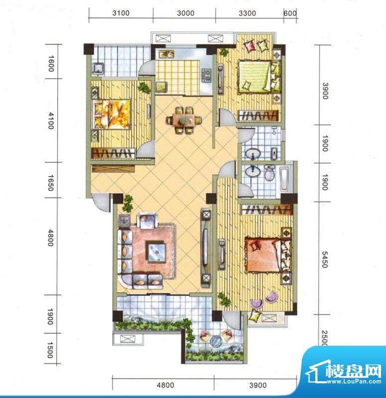 上东风景二期9-B户型面积:132.86平米