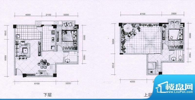 上东风景二期9-D户型面积:95.44平米