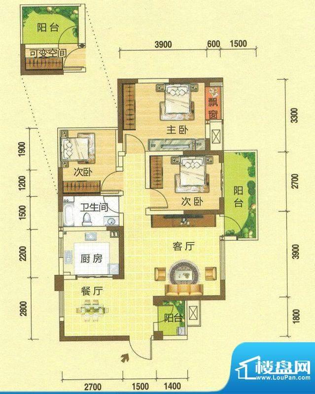 龙湾上城D户型图 3室面积:88.04平米