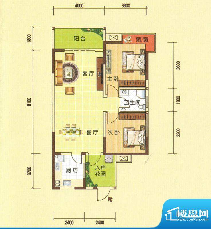 龙湾上城A户型图 2室面积:89.75平米