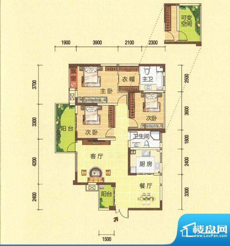 龙湾上城B户型图 3室面积:126.11平米