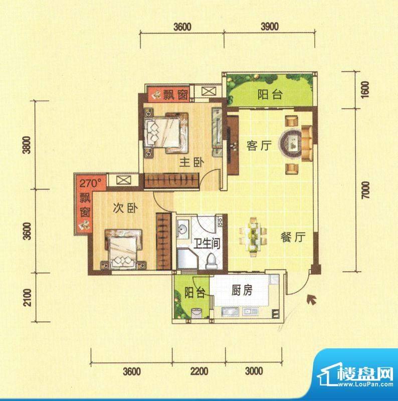 龙湾上城C户型图 2室面积:91.66平米