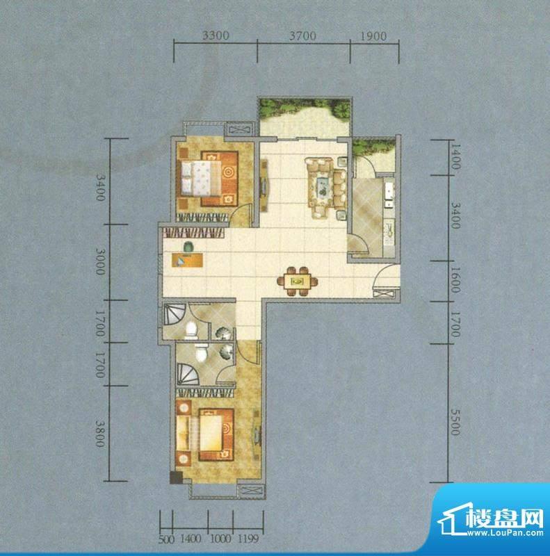 建业·阿里阳光A-A户面积:105.68平米