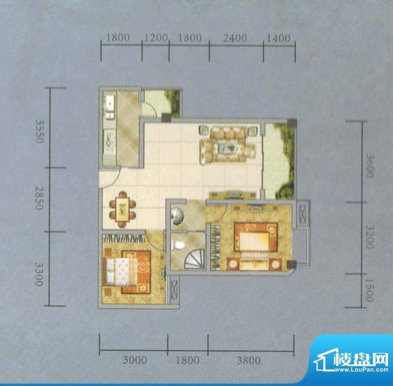 建业·阿里阳光B-B户面积:76.73平米