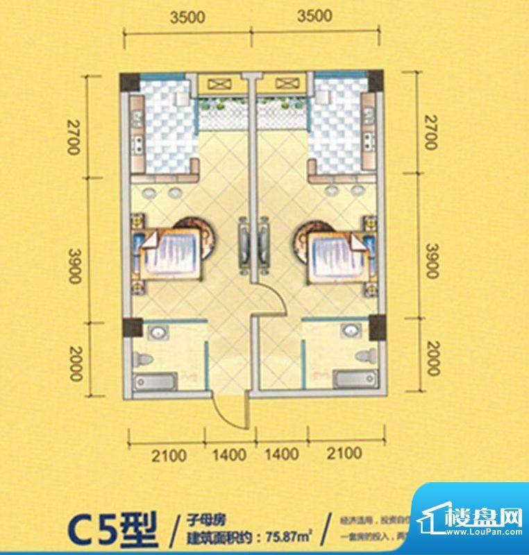 新里程尊域C5户型图面积:75.87平米