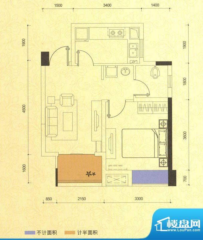 世家城南一号A2-3 户面积:48.71平米
