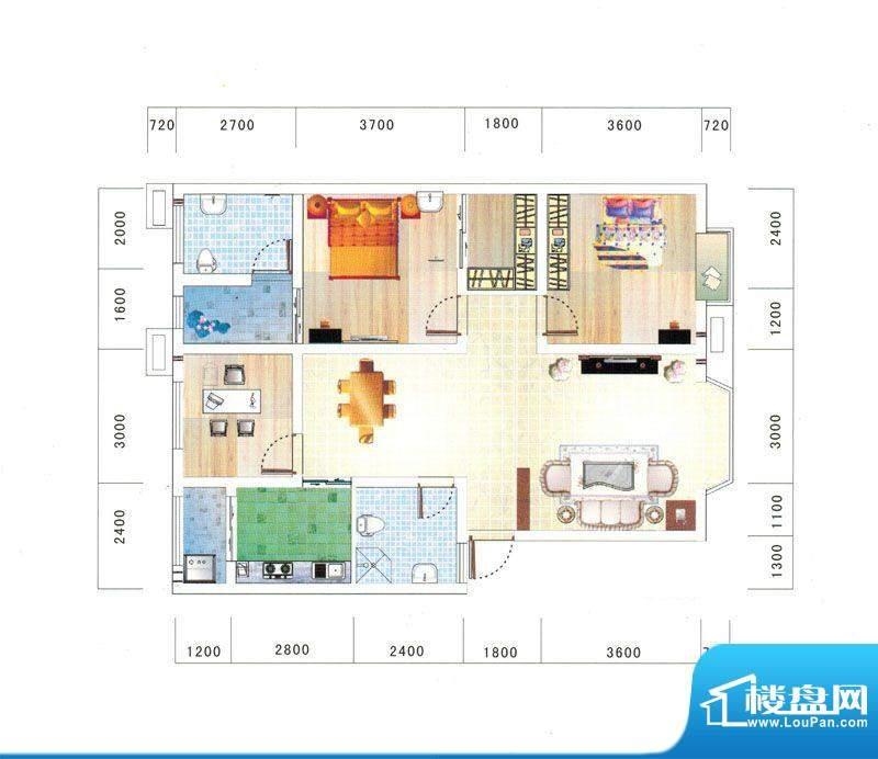 鼎虹·蓝城A户型图 面积:109.82平米
