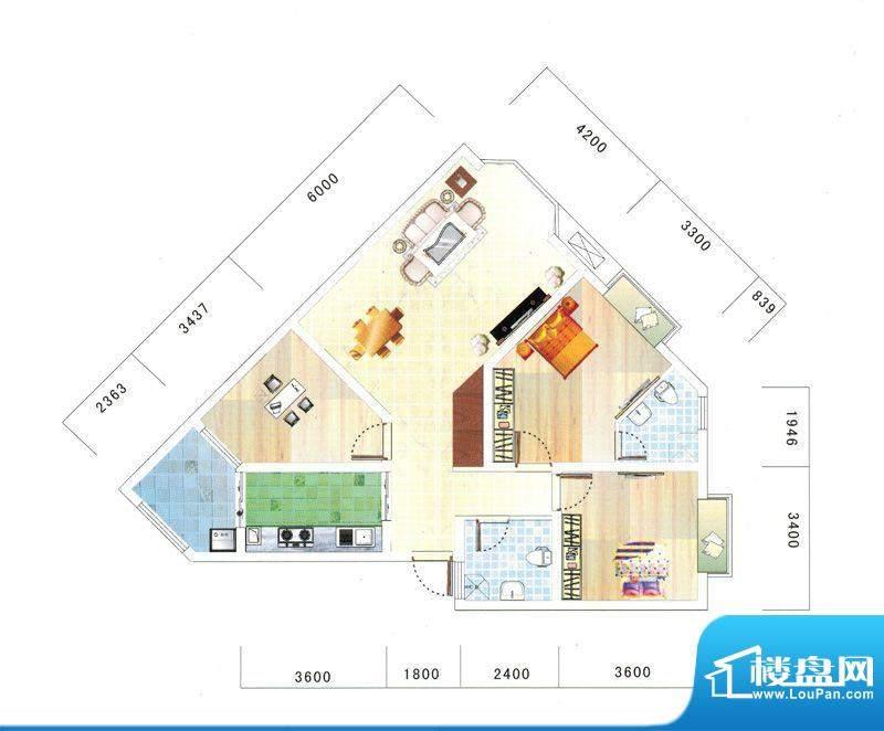 鼎虹·蓝城F4户型图面积:107.82平米